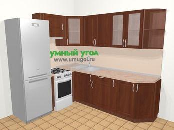 Угловая кухня МДФ матовый в классическом стиле 6,6 м², 190 на 240 см, Вишня темная, верхние модули 72 см, холодильник, отдельно стоящая плита