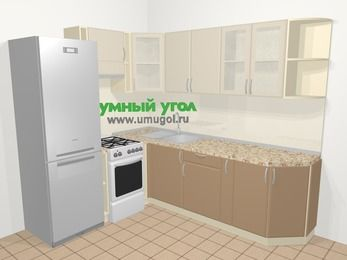 Угловая кухня МДФ матовый в современном стиле 6,6 м², 190 на 240 см, Керамик / Кофе, верхние модули 72 см, холодильник, отдельно стоящая плита