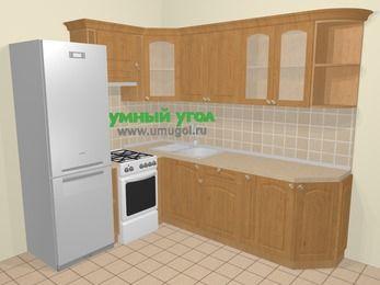 Угловая кухня МДФ матовый в стиле кантри 6,6 м², 190 на 240 см, Ольха, верхние модули 72 см, холодильник, отдельно стоящая плита