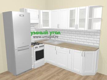 Угловая кухня МДФ матовый  в скандинавском стиле 6,6 м², 190 на 240 см, Белый, верхние модули 72 см, холодильник, отдельно стоящая плита
