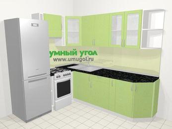 Угловая кухня МДФ металлик в современном стиле 6,6 м², 190 на 240 см, Салатовый металлик, верхние модули 72 см, холодильник, отдельно стоящая плита