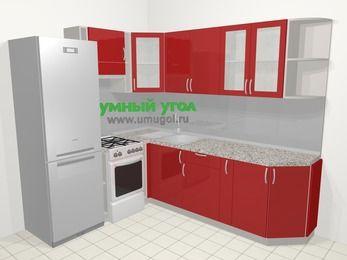Угловая кухня МДФ глянец в современном стиле 6,6 м², 190 на 240 см, Красный, верхние модули 72 см, холодильник, отдельно стоящая плита