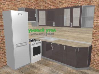 Угловая кухня МДФ глянец в стиле лофт 6,6 м², 190 на 240 см, Шоколад, верхние модули 72 см, холодильник, отдельно стоящая плита