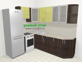 Кухни пластиковые угловые в современном стиле 6,6 м², 190 на 240 см, Желтый Галлион глянец / Дерево Мокка, верхние модули 72 см, холодильник, отдельно стоящая плита