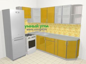 Кухни пластиковые угловые в современном стиле 6,6 м², 190 на 240 см, Желтый глянец, верхние модули 72 см, холодильник, отдельно стоящая плита