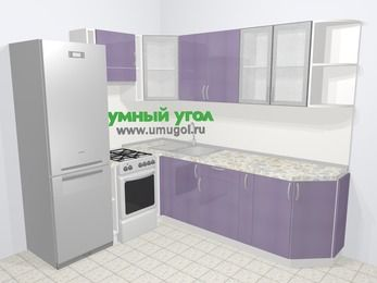 Кухни пластиковые угловые в современном стиле 6,6 м², 190 на 240 см, Сиреневый глянец, верхние модули 72 см, холодильник, отдельно стоящая плита