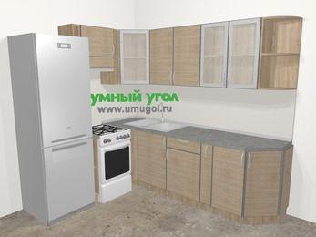 Кухни пластиковые угловые в стиле лофт 6,6 м², 190 на 240 см, Чибли бежевый, верхние модули 72 см, холодильник, отдельно стоящая плита