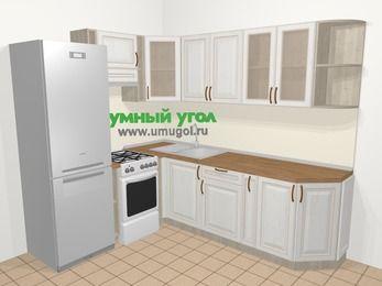 Угловая кухня МДФ патина в классическом стиле 6,6 м², 190 на 240 см, Лиственница белая, верхние модули 72 см, холодильник, отдельно стоящая плита