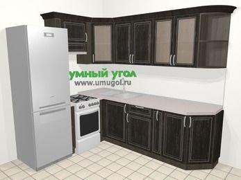 Угловая кухня МДФ патина в классическом стиле 6,6 м², 190 на 240 см, Венге, верхние модули 72 см, холодильник, отдельно стоящая плита