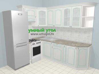 Угловая кухня МДФ патина в стиле прованс 6,6 м², 190 на 240 см, Лиственница белая, верхние модули 72 см, холодильник, отдельно стоящая плита
