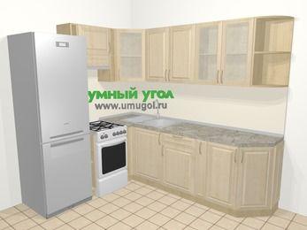 Угловая кухня из массива дерева в классическом стиле 6,6 м², 190 на 240 см, Светло-коричневые оттенки, верхние модули 72 см, холодильник, отдельно стоящая плита
