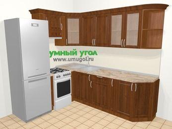 Угловая кухня из массива дерева в классическом стиле 6,6 м², 190 на 240 см, Темно-коричневые оттенки, верхние модули 72 см, холодильник, отдельно стоящая плита