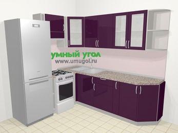 Угловая кухня МДФ глянец в современном стиле 6,6 м², 190 на 240 см, Баклажан, верхние модули 72 см, холодильник, отдельно стоящая плита