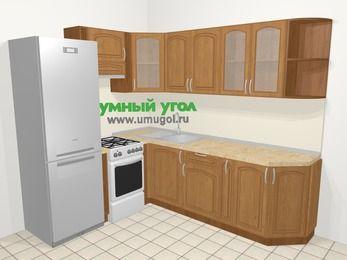 Угловая кухня МДФ патина в классическом стиле 6,6 м², 190 на 240 см, Ольха, верхние модули 72 см, холодильник, отдельно стоящая плита