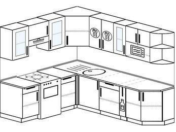 Угловая кухня 6,6 м² (1,9✕2,4 м), верхние модули 72 см, модуль под свч, отдельно стоящая плита