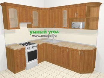 Угловая кухня МДФ матовый в классическом стиле 6,6 м², 190 на 240 см, Вишня, верхние модули 72 см, модуль под свч, отдельно стоящая плита