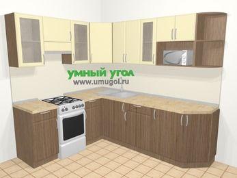 Угловая кухня МДФ матовый в современном стиле 6,6 м², 190 на 240 см, Ваниль / Лиственница бронзовая, верхние модули 72 см, модуль под свч, отдельно стоящая плита