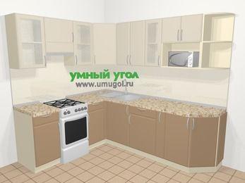 Угловая кухня МДФ матовый в современном стиле 6,6 м², 190 на 240 см, Керамик / Кофе, верхние модули 72 см, модуль под свч, отдельно стоящая плита