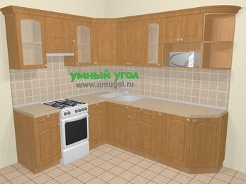 Угловая кухня МДФ матовый в стиле кантри 6,6 м², 190 на 240 см, Ольха, верхние модули 72 см, модуль под свч, отдельно стоящая плита