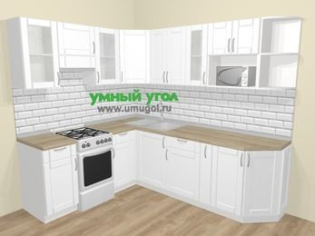 Угловая кухня МДФ матовый  в скандинавском стиле 6,6 м², 190 на 240 см, Белый, верхние модули 72 см, модуль под свч, отдельно стоящая плита