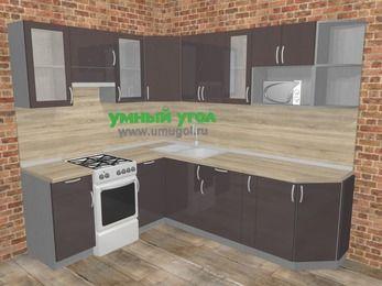 Угловая кухня МДФ глянец в стиле лофт 6,6 м², 190 на 240 см, Шоколад, верхние модули 72 см, модуль под свч, отдельно стоящая плита