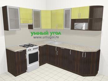 Кухни пластиковые угловые в современном стиле 6,6 м², 190 на 240 см, Желтый Галлион глянец / Дерево Мокка, верхние модули 72 см, модуль под свч, отдельно стоящая плита