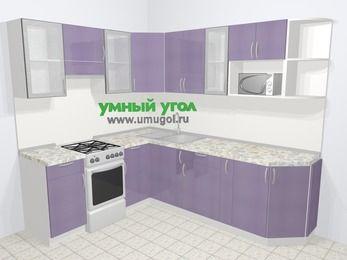 Кухни пластиковые угловые в современном стиле 6,6 м², 190 на 240 см, Сиреневый глянец, верхние модули 72 см, модуль под свч, отдельно стоящая плита