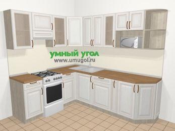 Угловая кухня МДФ патина в классическом стиле 6,6 м², 190 на 240 см, Лиственница белая, верхние модули 72 см, модуль под свч, отдельно стоящая плита