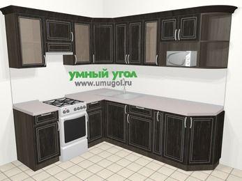 Угловая кухня МДФ патина в классическом стиле 6,6 м², 190 на 240 см, Венге, верхние модули 72 см, модуль под свч, отдельно стоящая плита