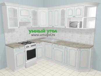 Угловая кухня МДФ патина в стиле прованс 6,6 м², 190 на 240 см, Лиственница белая, верхние модули 72 см, модуль под свч, отдельно стоящая плита