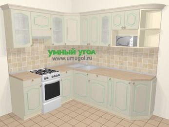 Угловая кухня МДФ патина в стиле прованс 6,6 м², 190 на 240 см, Керамик, верхние модули 72 см, модуль под свч, отдельно стоящая плита