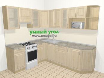 Угловая кухня из массива дерева в классическом стиле 6,6 м², 190 на 240 см, Светло-коричневые оттенки, верхние модули 72 см, модуль под свч, отдельно стоящая плита