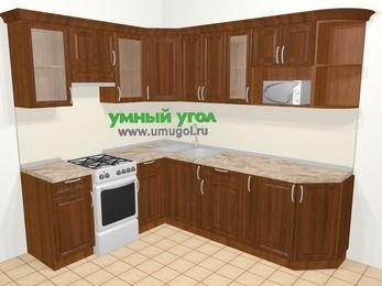 Угловая кухня из массива дерева в классическом стиле 6,6 м², 190 на 240 см, Темно-коричневые оттенки, верхние модули 72 см, модуль под свч, отдельно стоящая плита