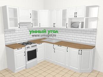 Угловая кухня из массива дерева в скандинавском стиле 6,6 м², 190 на 240 см, Белые оттенки, верхние модули 72 см, модуль под свч, отдельно стоящая плита