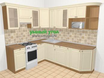 Угловая кухня из массива дерева в стиле кантри 6,6 м², 190 на 240 см, Бежевые оттенки, верхние модули 72 см, модуль под свч, отдельно стоящая плита