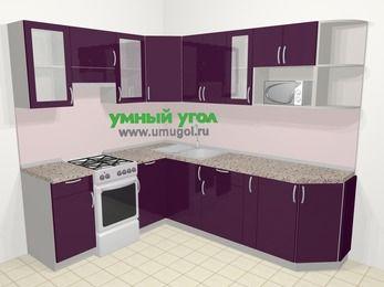 Угловая кухня МДФ глянец в современном стиле 6,6 м², 190 на 240 см, Баклажан, верхние модули 72 см, модуль под свч, отдельно стоящая плита