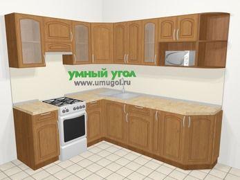 Угловая кухня МДФ патина в классическом стиле 6,6 м², 190 на 240 см, Ольха, верхние модули 72 см, модуль под свч, отдельно стоящая плита