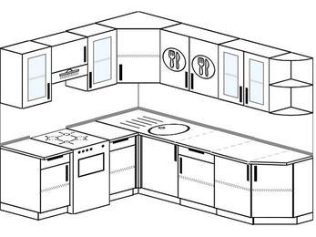 Угловая кухня 6,6 м² (1,9✕2,4 м), верхние модули 72 см, отдельно стоящая плита