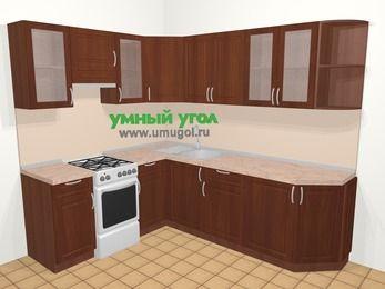 Угловая кухня МДФ матовый в классическом стиле 6,6 м², 190 на 240 см, Вишня темная, верхние модули 72 см, отдельно стоящая плита