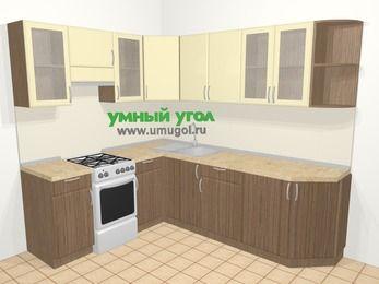 Угловая кухня МДФ матовый в современном стиле 6,6 м², 190 на 240 см, Ваниль / Лиственница бронзовая, верхние модули 72 см, отдельно стоящая плита