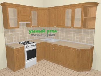 Угловая кухня МДФ матовый в стиле кантри 6,6 м², 190 на 240 см, Ольха, верхние модули 72 см, отдельно стоящая плита