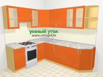 Угловая кухня МДФ металлик в современном стиле 6,6 м², 190 на 240 см, Оранжевый металлик, верхние модули 72 см, отдельно стоящая плита