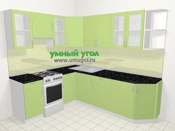 Угловая кухня МДФ металлик в современном стиле 6,6 м², 190 на 240 см, Салатовый металлик, верхние модули 72 см, отдельно стоящая плита