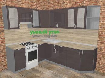 Угловая кухня МДФ глянец в стиле лофт 6,6 м², 190 на 240 см, Шоколад, верхние модули 72 см, отдельно стоящая плита