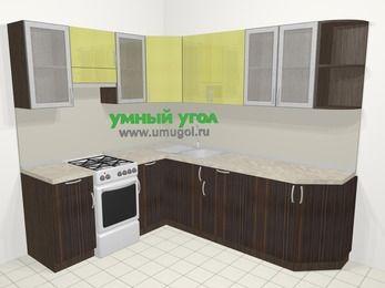 Кухни пластиковые угловые в современном стиле 6,6 м², 190 на 240 см, Желтый Галлион глянец / Дерево Мокка, верхние модули 72 см, отдельно стоящая плита