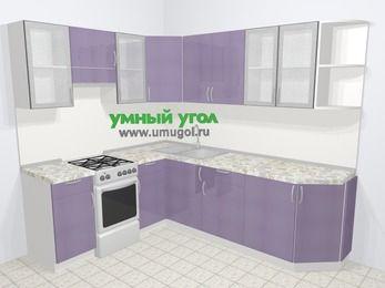 Кухни пластиковые угловые в современном стиле 6,6 м², 190 на 240 см, Сиреневый глянец, верхние модули 72 см, отдельно стоящая плита