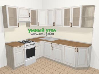 Угловая кухня МДФ патина в классическом стиле 6,6 м², 190 на 240 см, Лиственница белая, верхние модули 72 см, отдельно стоящая плита