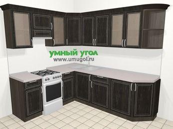 Угловая кухня МДФ патина в классическом стиле 6,6 м², 190 на 240 см, Венге, верхние модули 72 см, отдельно стоящая плита