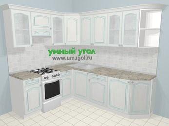 Угловая кухня МДФ патина в стиле прованс 6,6 м², 190 на 240 см, Лиственница белая, верхние модули 72 см, отдельно стоящая плита