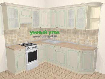 Угловая кухня МДФ патина в стиле прованс 6,6 м², 190 на 240 см, Керамик, верхние модули 72 см, отдельно стоящая плита